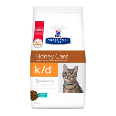 Hills Prescription Diet Сухой корм для кошек K/D лечение почек, сердца и нижнего отдел мочевыводящих путей с тунцом 11141Y, 0,400 кг