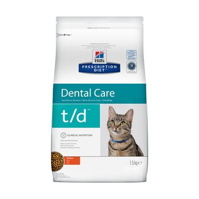 Hills Prescription Diet Сухой корм для кошек T/D поддержание здоровья ротовой полости 8688U, 1,500 кг