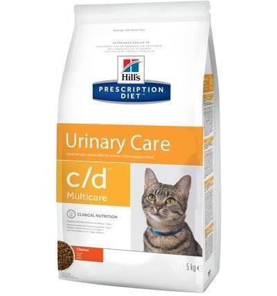Hills Diet c/d корм для взрослых и пожилых кошек, профилактика МКБ (струвиты), курица 5 кг
