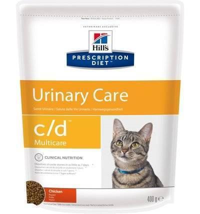 Hills Diet c/d корм для взрослых и пожилых кошек, профилактика МКБ (струвиты), курица 400 гр