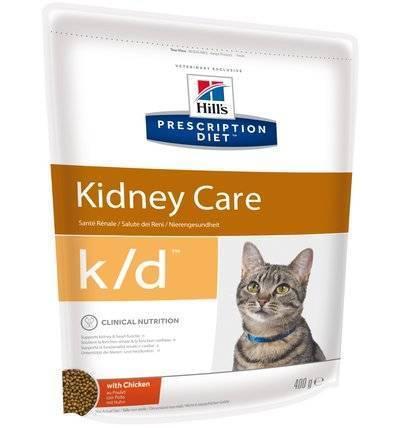 Hills Diet k/d корм для взрослых и пожилых кошек всех пород, лечение почек, сердца, курица 400 гр