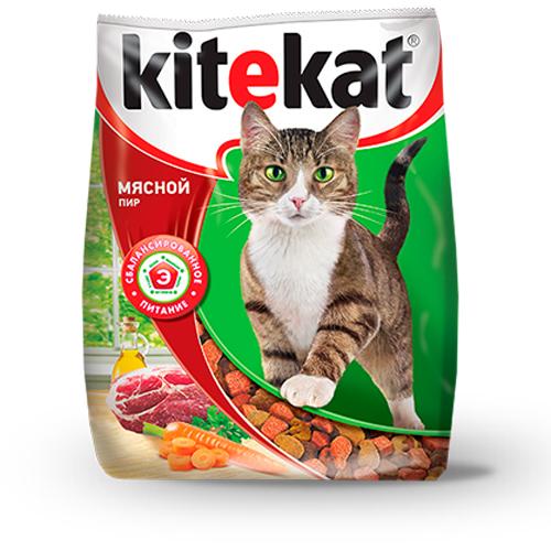 Kitekat корм для взрослых кошек, мясной пир 15 кг