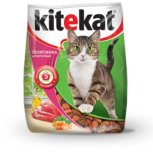 Kitekat корм для взрослых кошек, с аппетитной телятиной 15 кг