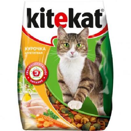 Kitekat корм для взрослых кошек, с курочкой аппетитной 350 гр