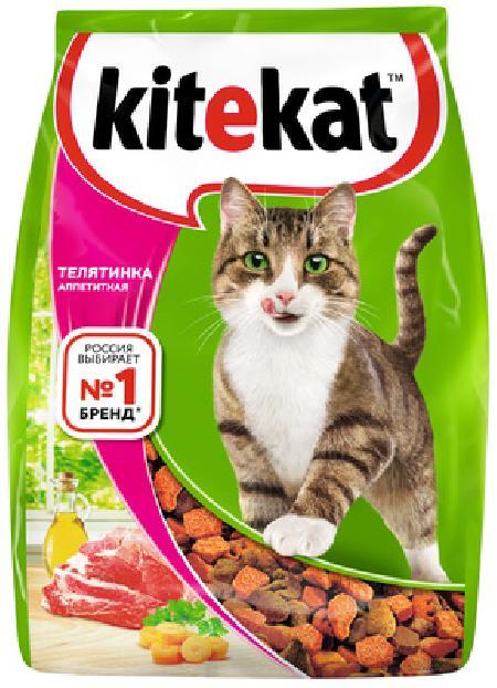 Kitekat корм для взрослых кошек, с аппетитной телятиной 350 гр