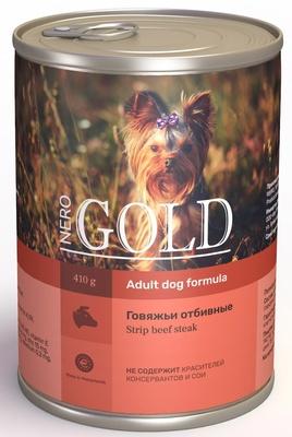 Nero Gold консервы ВИА Консервы для собак Говяжьи отбивные (Strip Beef Steak), 0,410 кг