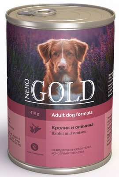 Nero Gold консервы ВИА Консервы для собак Кролик и оленина (Rabbit andVenison), 0,410 кг