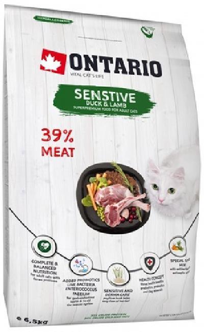 Ontario Для кошек с чувствительным пищеварением с уткой и ягненком (Ontario Cat Sensitive/Derma) 213-10623, 0,400 кг