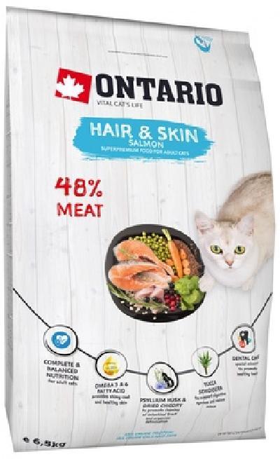 Ontario Для здоровья кожи и шерсти кошек с лососем (Ontario Cat Hair & Skin) 213-10177, 6,500 кг