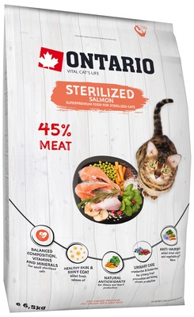 Ontario Для стерилизованных кошек с лососем (Ontario Cat Sterilised Salmon) 213-10777, 6,500 кг