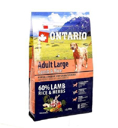 Ontario корм для собак крупных пород, ягненок, с рисом 2,25 кг