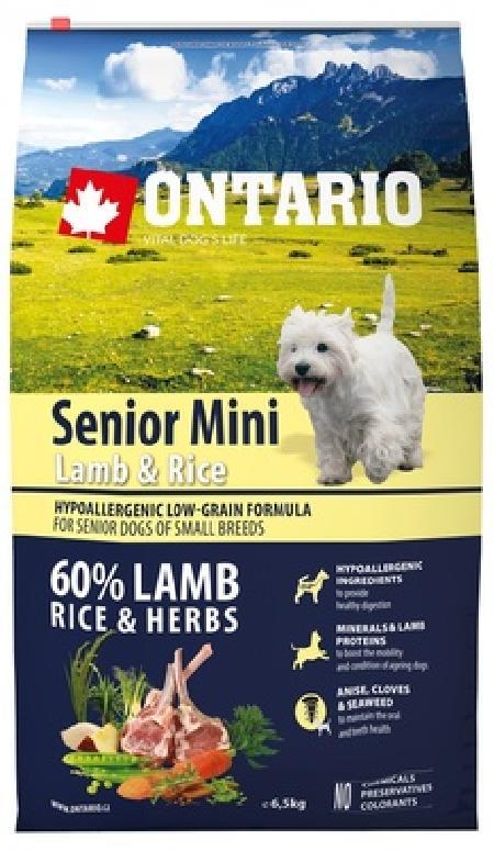 Ontario корм для пожилых собак мелких пород, ягненок и рис 6,5 кг