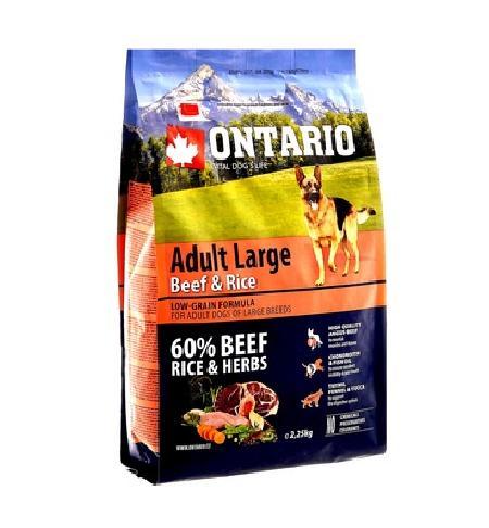 Ontario корм для собак крупных пород, говядина, с рисом 12 кг
