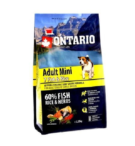 Ontario корм для собак мелких пород, рыба и рис 750 гр