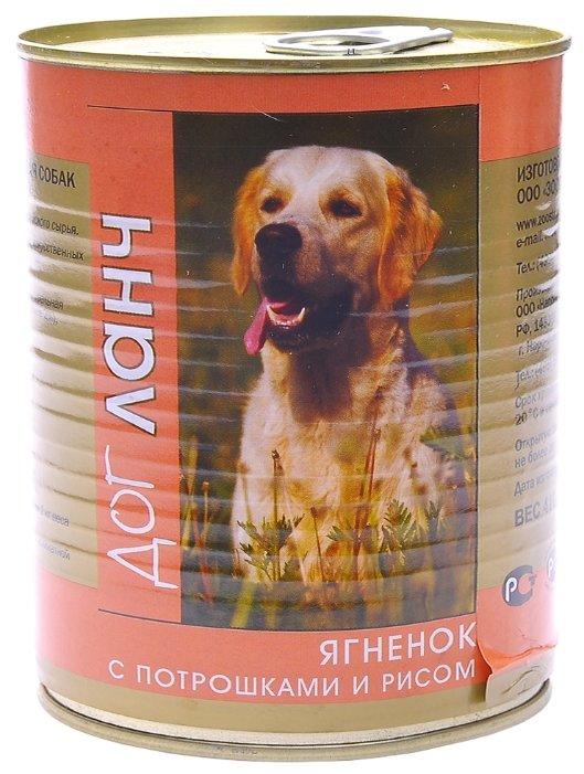 Dog Lunch влажный корм для взрослых собак, ягненок с потрошками и рисом в желе 750 гр