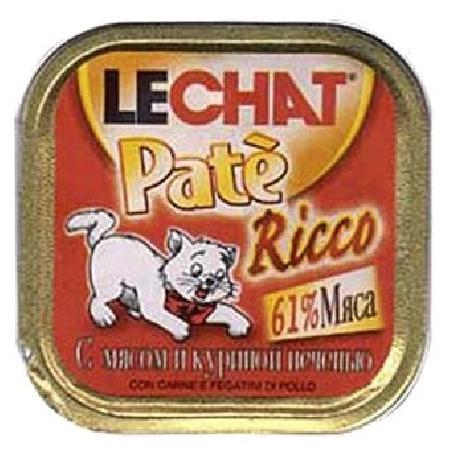 Lechat влажный корм для взрослых кошек всех пород, с мясом и печенью курицы 100 гр