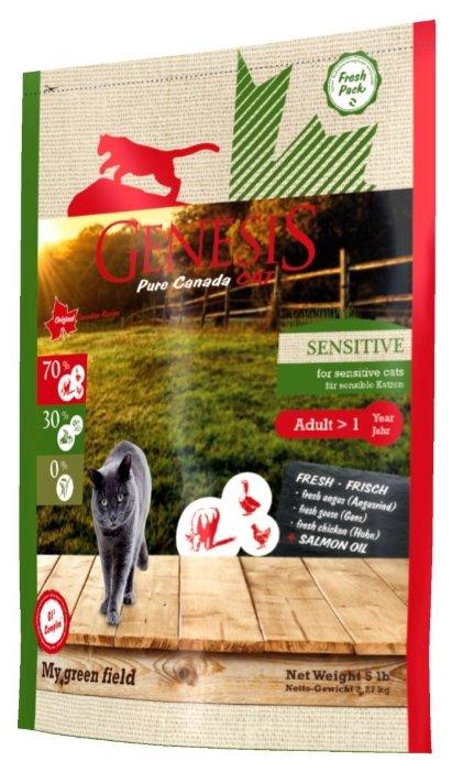 Genesis корм для взрослых кошек всех пород, чувствительное пищеварение, говядина, гусь и курица 2,268 кг