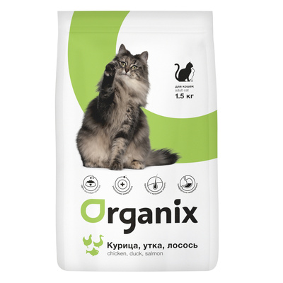 Organix сухой корм Для кошек: курица, утка и лосось (Adult Cat Chicken, Duck, Salmon), 1,500 кг, 20594