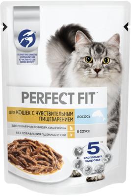 Perfect Fit ВИА Паучи для кошек с чувствительным пищеварением лосось 24*85г 10222124, 0,085 кг