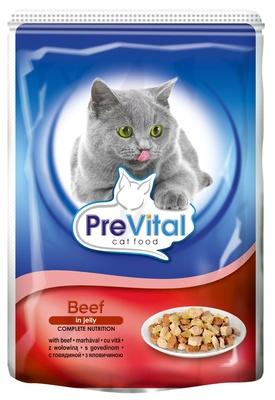 Prevital влажный корм для взрослых кошек всех пород, с говядиной в желе 100 гр