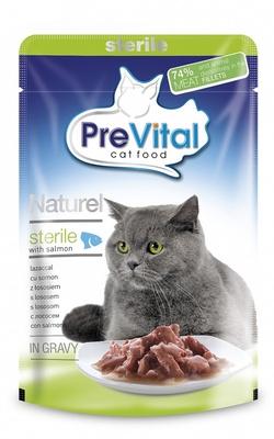PreVital Паучи Натурель в соусе для стерилизованных кошек с лососем, 0,085 кг, 34499