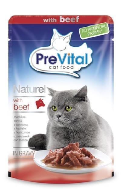 Prevital влажный корм для взрослых кошек всех пород, с говядиной в соусе 85 гр