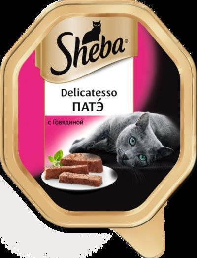 Sheba Delicatesso влажный корм для кошек всех пород, патэ с говядиной 85 гр