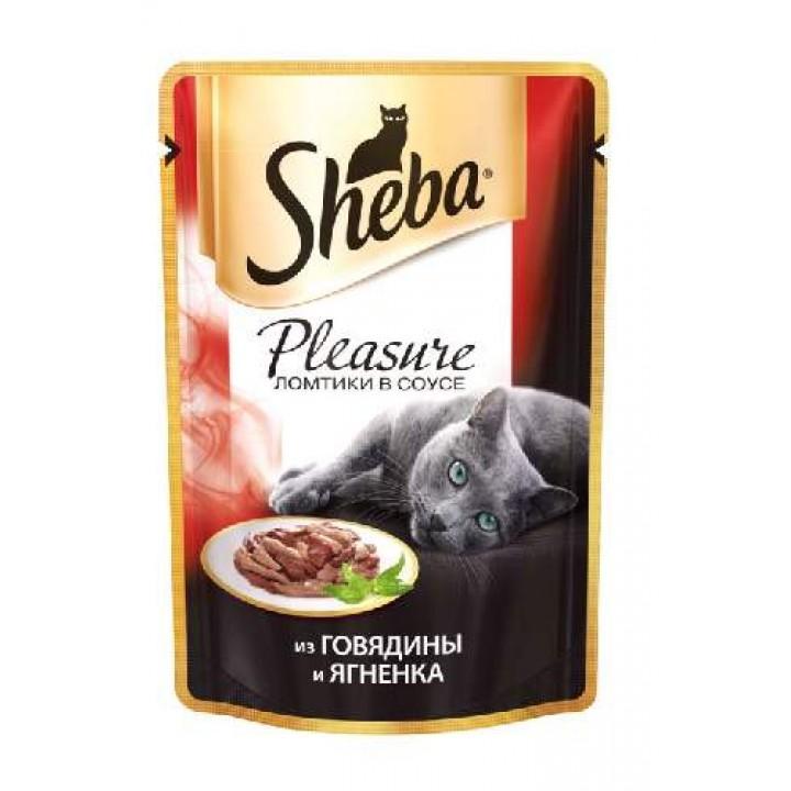 Sheba Pleasure влажный корм для взрослых кошек всех пород, говядина и ягненок 85 гр