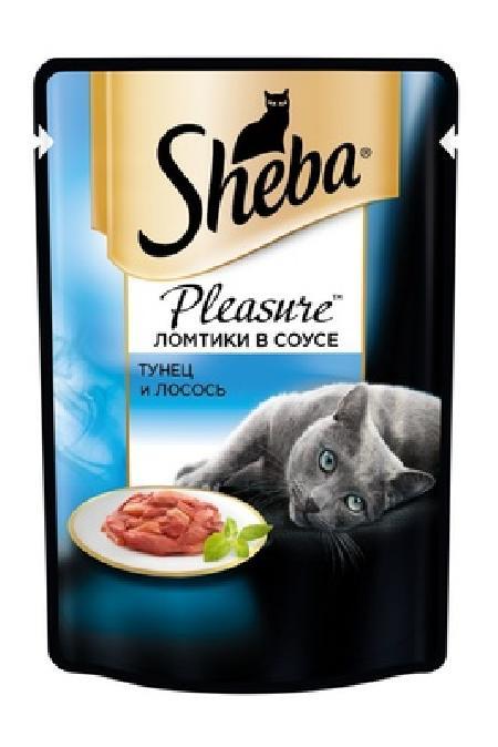 Sheba Pleasure влажный корм для взрослых кошек всех пород, тунец и лосось 85 гр