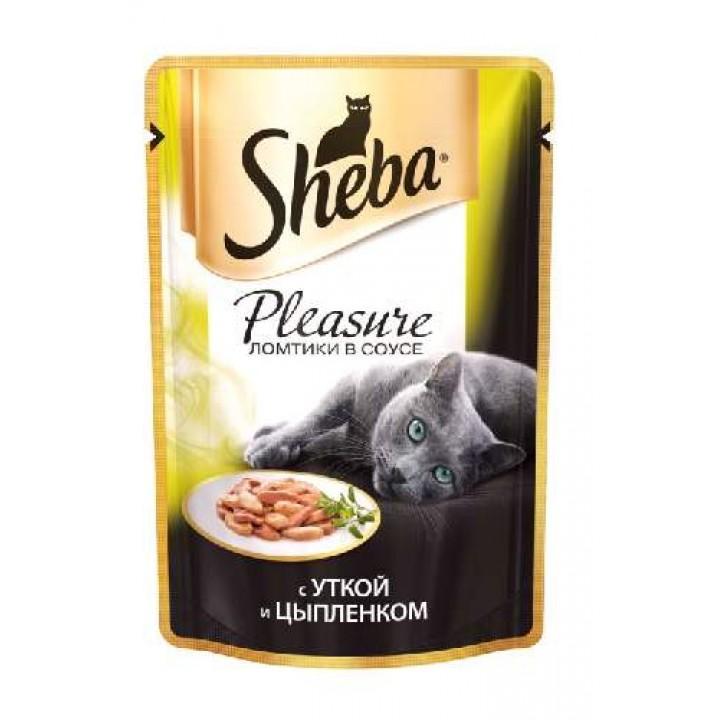 Sheba Pleasure влажный корм для взрослых кошек всех пород, утка и цыпленок 85 гр