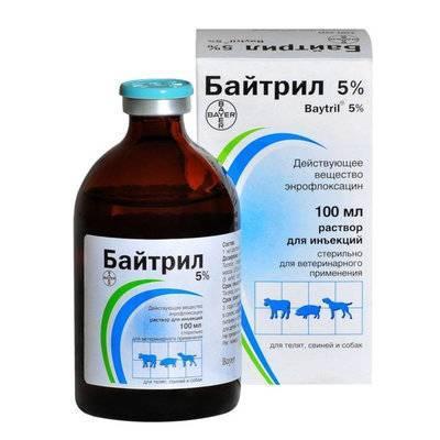 Bayer Байтрил 5% раствор для инъекций для собак и кошек, антибактериальный лекарственный препарат 100 мл, 2100100719