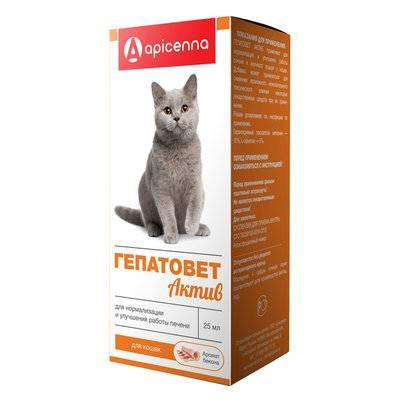 Apicenna Гепатовет Актив суспензия для кошек, для нормализации и улучшения работы печени 25 мл