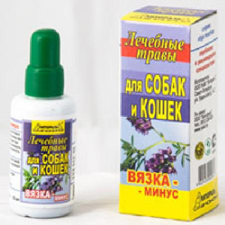 Настойка лечебных трав Вязка-минус для собак и кошек