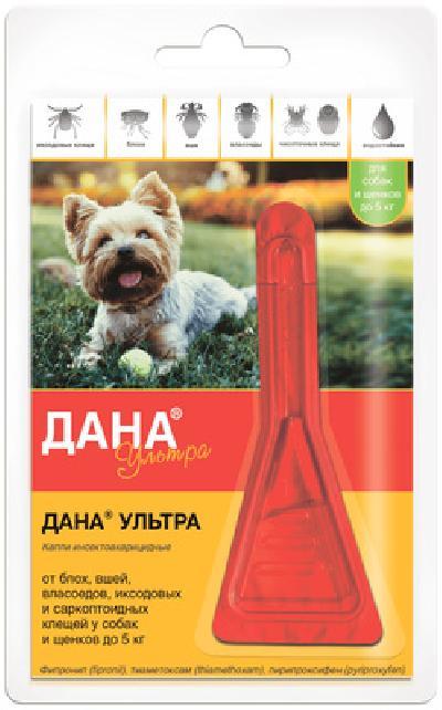 Apicenna Дана Ультра капли для собак и щенков до 5 кг против блох, вшей и власоедов 1 пипетка