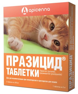 Apicenna Празицид антигельметик для кошек, таблетки 6 таблеток
