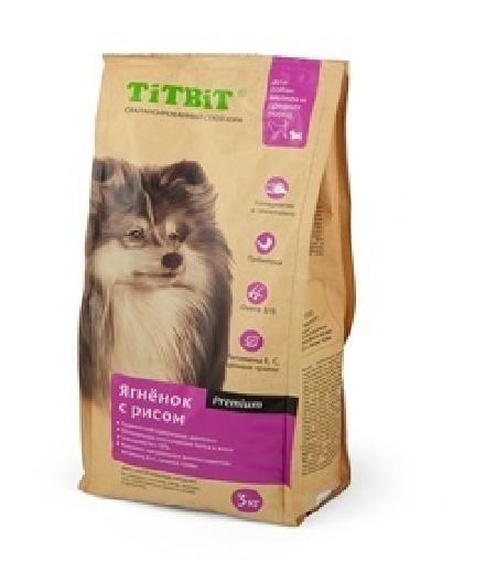 TiTBiT Сухой корм для собак малых и средних пород ягненок с рисом (008348), 1,000 кг, 40667