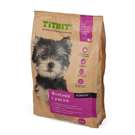 TiTBiT ВИА Сухой корм для щенков малых и средних пород ягненок с рисом (008300), 1 кг, 40671