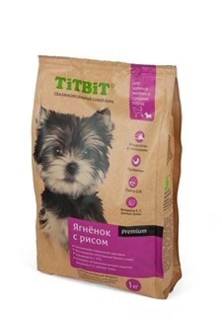 TiTBiT Сухой корм для щенков малых и средних пород ягненок с рисом (008317), 3,000 кг, 40672