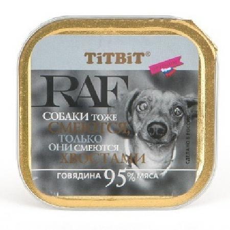 TiTBiT Паштет для собак RAF с говядиной (7655), 0,100 кг