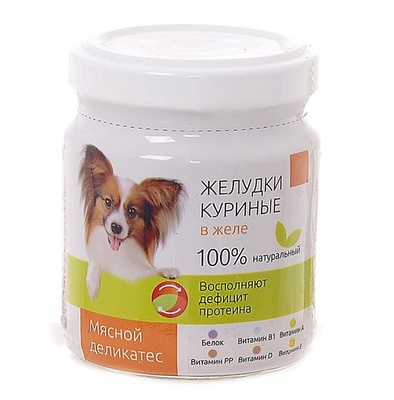 TiTBiT ВИА Консервы для собак Желудки куриные в желе (003664), 0,100 кг