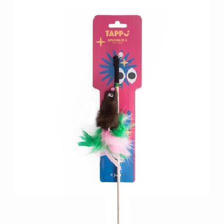 Tappi игрушки Игрушка Фирал дразнилка  для кошек  из натурального меха норки с  хвостом из перьев на веревке 29оп66, 0,024 кг, 37637