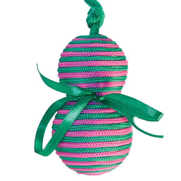 302S Груша с бантиком на верёвке d6х10см игрушка-когтеточка для кошек, 22141001
