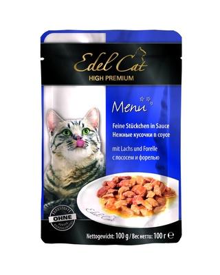 Edel Cat Нежные кусочки в соусе: лосось и форель, 0,100 кг, 100100784