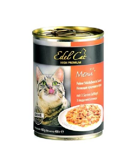 Edel Cat Нежные кусочки в соусе: 3 вида мяса, 0,400 кг, 1200100784
