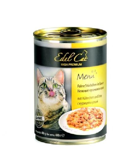 Edel Cat Нежные кусочки в соусе: курица и утка, 0,400 кг, 1400100784
