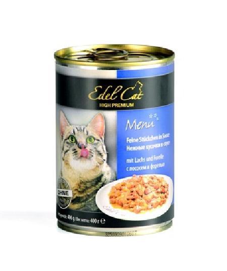 Edel Cat Нежные кусочки в соусе: лосось и форель, 0,400 кг, 1500100784