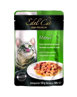 Edel Cat Нежные кусочки в соусе: индейка и утка, 0,100 кг, 200100784
