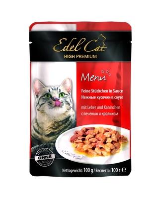 Edel Cat Нежные кусочки в соусе: кролик и печень, 0,100 кг, 300100784