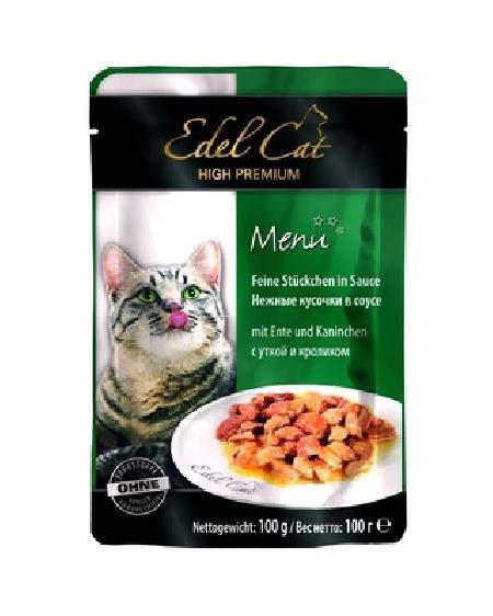 Edel Cat Нежные кусочки в соусе: утка и кролик, 0,100 кг, 400100784