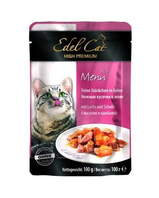 Edel Cat Нежные кусочки в желе: лосось и камбала, 0,100 кг, 600100784